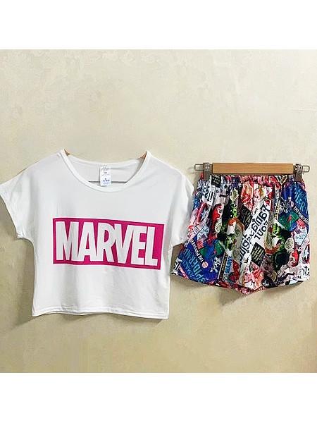Женская трикотажная пижама топ и шорты Marvel