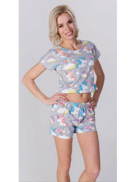 Женская трикотажная пижама принт единорог