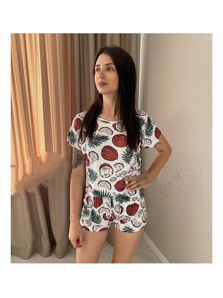 Женская молодежная пижама футболка и шорты кокос