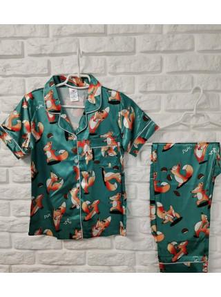 Атласная пижама для женщин рубашка и штаны с лисичками