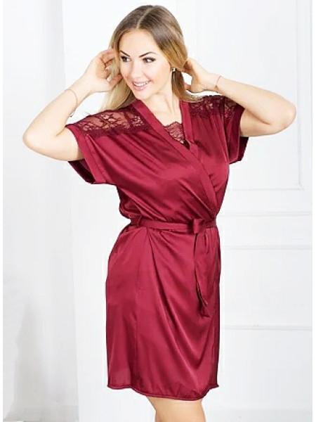 Атласный комплект кружевной халат и сорочка