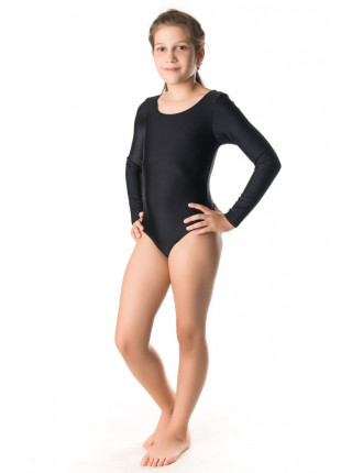 Эластиковый гимнастический купальник чёрного цвета
