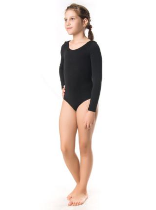 Черный трикотажный гимнастический купальник