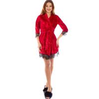 Женский велюровый халат на запах с кружевом