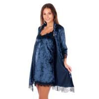 Элегантный велюровый комплект для сна халат и сорочка цвет тёмно-синий