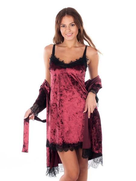 Женский велюровый комплект для сна халат и сорочка с кружевом