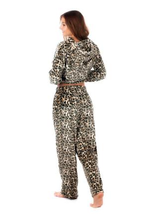 Женский домашний костюм брючки и кофточка леопард