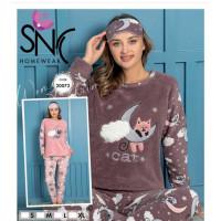 Пижама женская махровая принт кошка