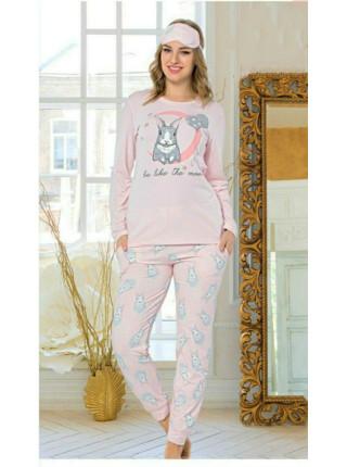 Женская пижама из 100% хлопка брючки и кофта на манжете