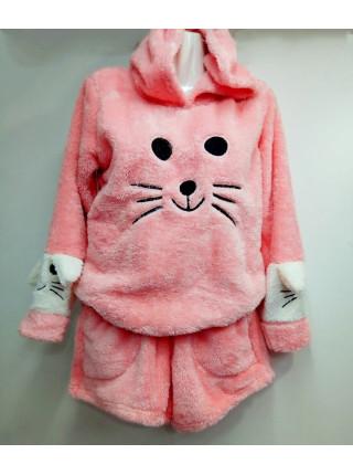 Женская махровая пижама шорты и кофта