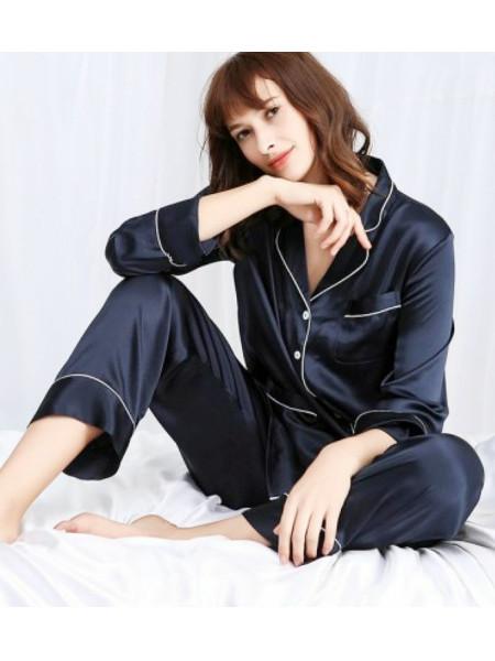 Женский атласный комплект брючки и рубашка