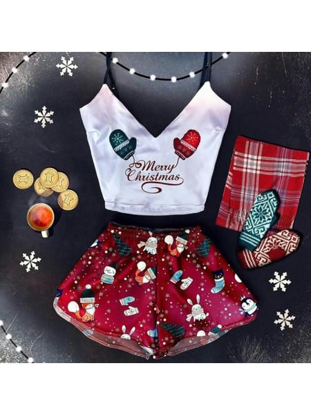 Женская шелковая пижама принт новогодние варежки