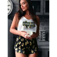 Женский  шелковый комплект - пижама с принтом авокадо