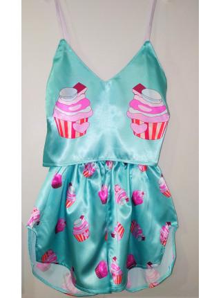 Женская шелковая пижама с принтом пирожное