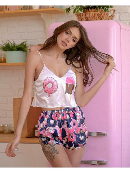 Женская шелковая пижама с мороженым и пончиком