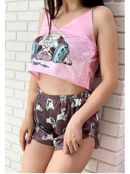 Женская шелковая пижама принт Мопс