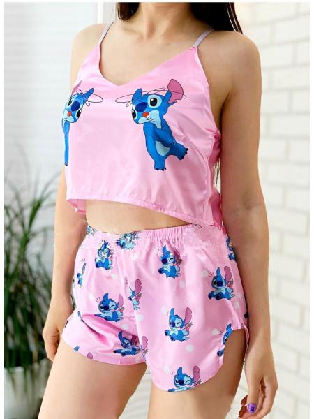 Женская шелковая пижама Стич