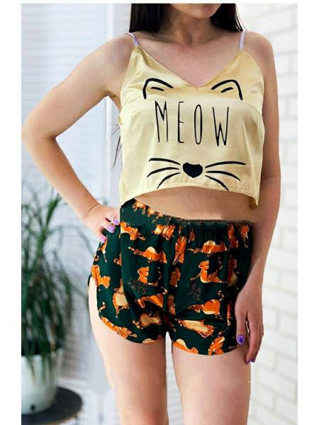 Женская шелковая пижама принт кошка