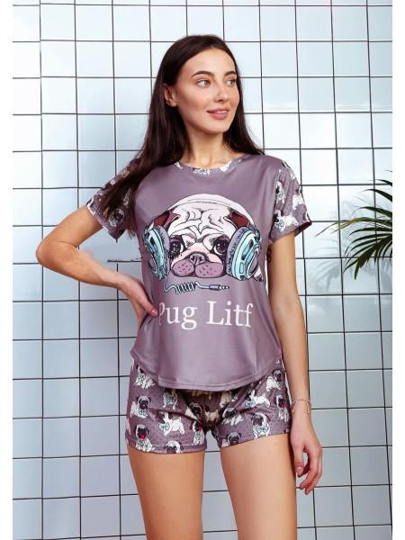 Женская пижама футболка и шорты принт Мопс