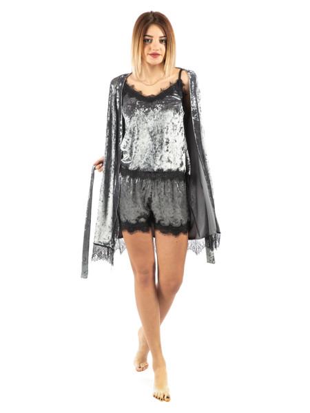 Комплект велюровый женский Exclusive серого цвета
