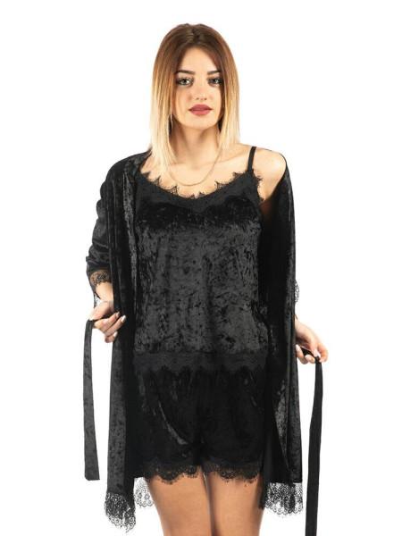 Комплект велюровый женский Exclusive черного цвета