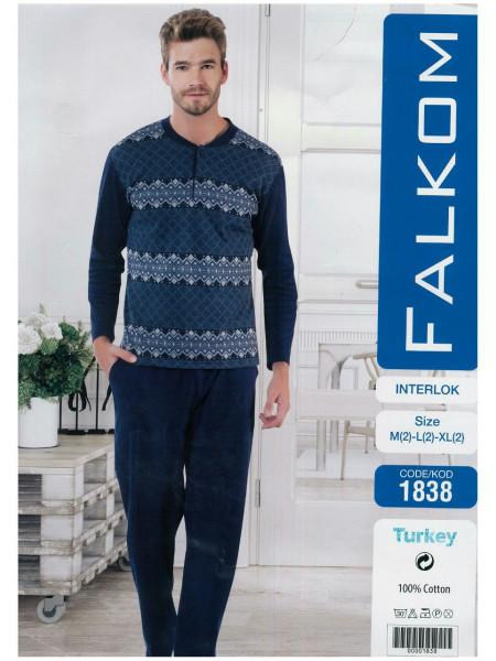 Теплая мужская пижама из хлопка