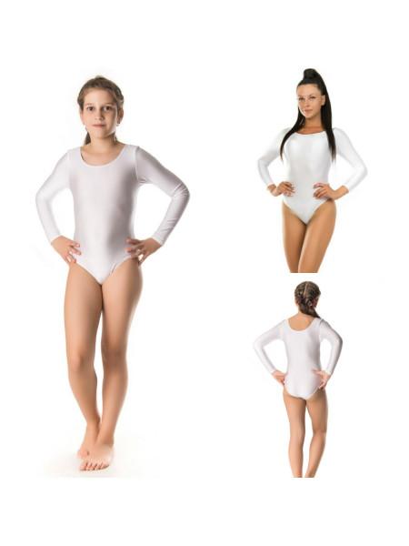 Белый трикотажный гимнастический купальник