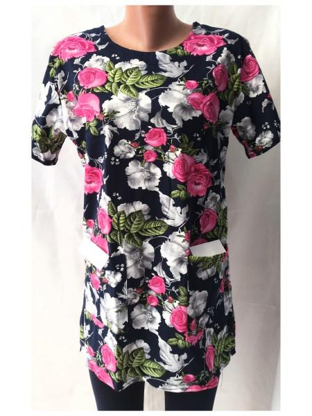 Женская туника футболка большого размера с карманами