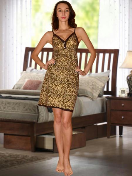 Сорочка женская на бретелях хлопок леопард