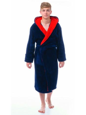 Мужской махровый халат с капюшоном однотонный