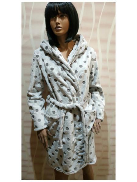 Женский халат полированная махра (шиншилла) в горох